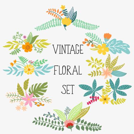 vintage: Jogo do vetor com flores do vintage