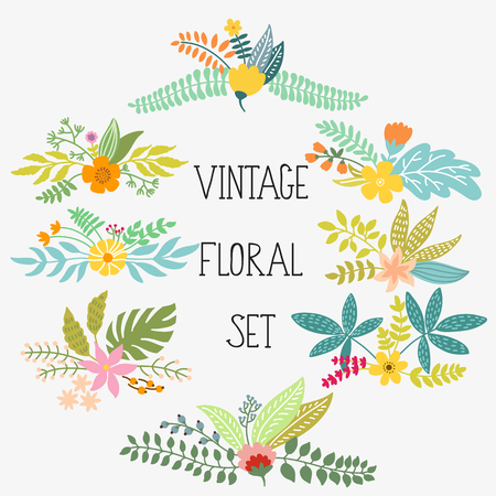 floral decoration: Vector set with vintage flowers