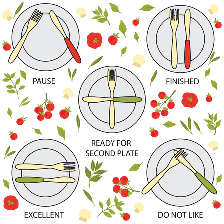formal place setting: Dining etiquette, forks and knifes signals Illustration