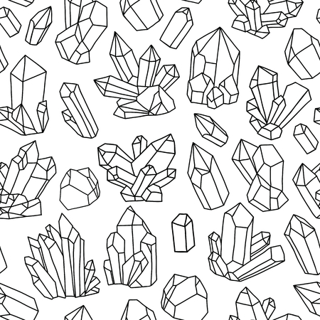 quartz crystal: Seamless vector pattern with bright crystals. Colorful illustration Illustration