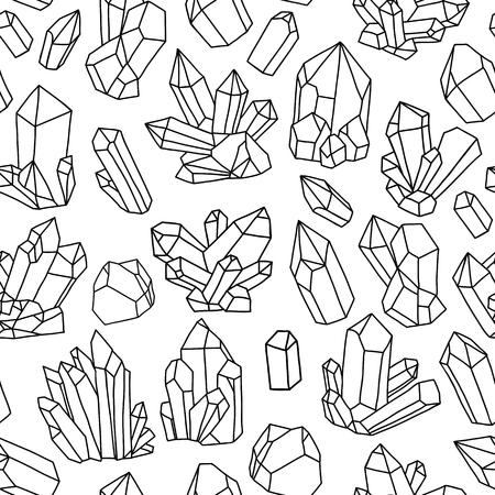 Wektor bez szwu wzór z jasnych kryształów. kolorowe ilustracje
