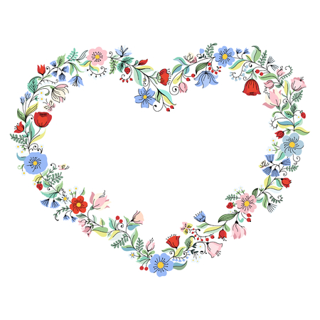 flower heart: Illustration with flower heart. Can be used for wedding invitation, card for Valentines Day or card about love Illustration