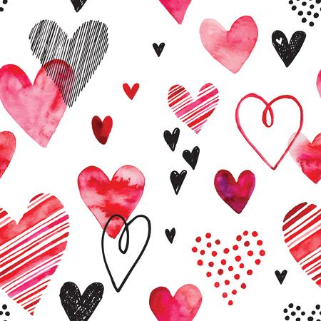 corazon en la mano: modelo del corazón, vector de fondo sin fisuras. Puede ser utilizado para la invitación de boda, tarjeta para el Día de San Valentín o tarjeta de amor.
