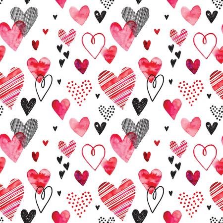心のパターン、ベクトルのシームレスな背景。結婚式招待状、バレンタインデーのカードや愛についてカードに使用できます。
