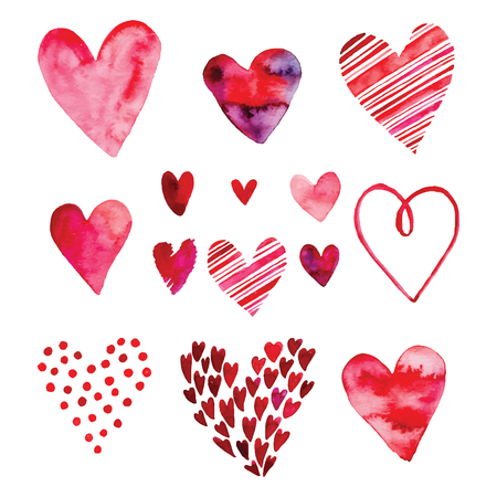 Heart set, vector icons for your design. Can be used for wedding invitation, card for Valentines Day or card about love. Ilustrace