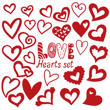 Heart set, vector icons for your design. Can be used for wedding invitation, card for Valentines Day or card about love. Illustration