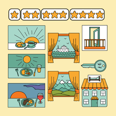 hotel icons: Vector set with hotel icons Illustration