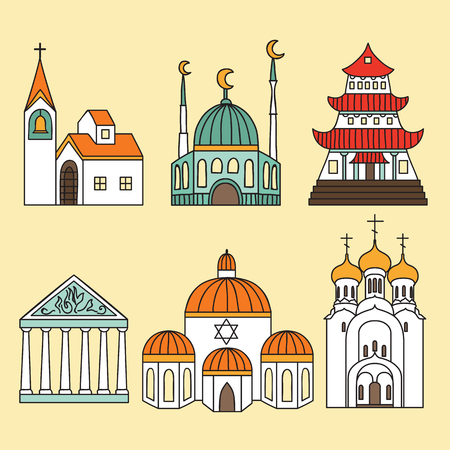 hindu: Cathedrals and churches icon set Illustration