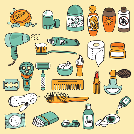 beauty icon: Bathroom and beauty icon set. Vector illustration Illustration