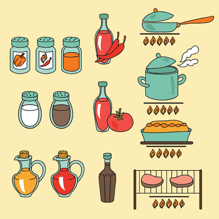 sauces: Sauces and spices icon set. Vector illustration Illustration