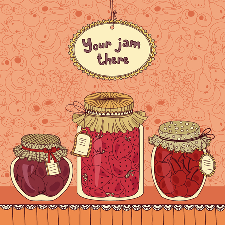 Vector illustration with jam and place for your text