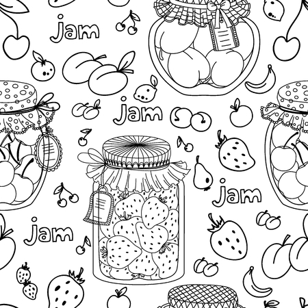 palatable: Vector seamless pattern with cherry, plum and strawberry jam