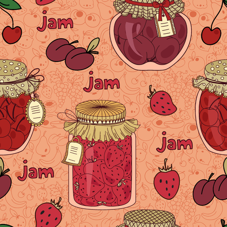 strawberry jam: Vector seamless pattern with cherry, plum and strawberry jam