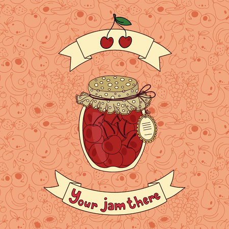 palatable: Vector illustration with jam and place for your text Illustration