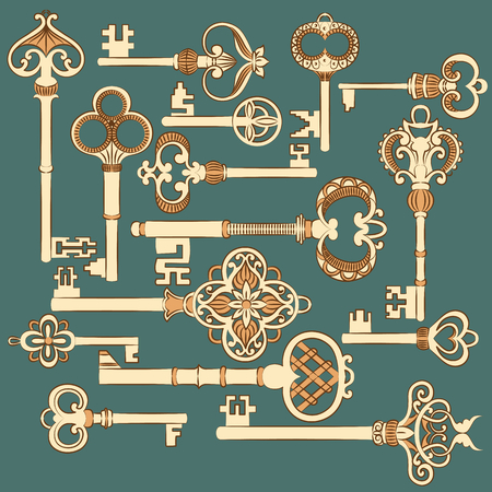 passkey: Original antique keys collection. Vector illustration. Illustration