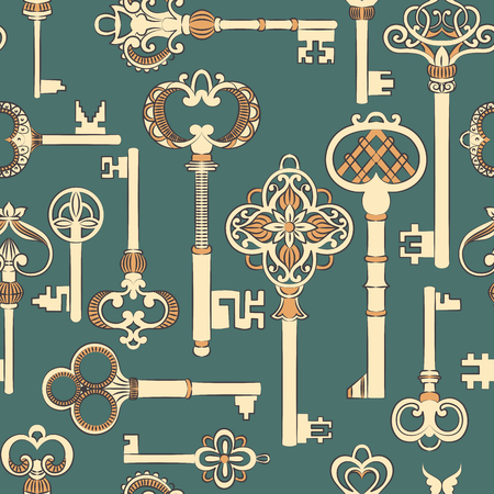 antique keys: Seamless pattern with antique keys