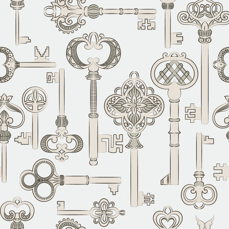 key lock: Seamless pattern with antique keys