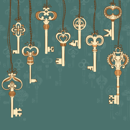 passkey: Background with antique keys collection and place for your text. Vector illustration