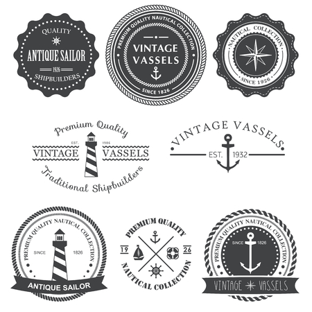 Set of vintage nautical labels, icons and design elements Banco de Imagens - 54807300