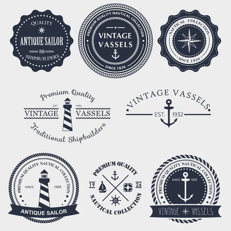 Reeks uitstekende nautische labels, pictogrammen en design-elementen