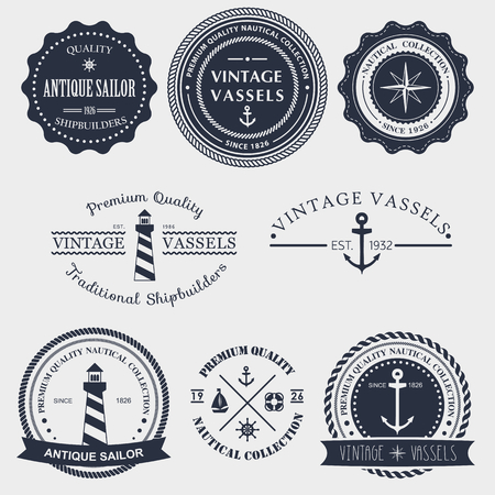 nautical vessel: Set of vintage nautical labels, icons and design elements