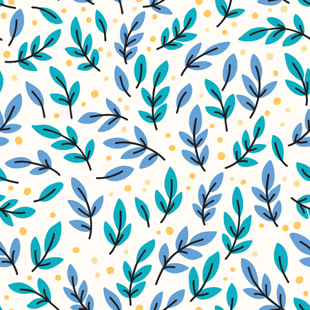 yellow leaves: Vector seamless pattern with yellow leaves. Hand drawn illustration