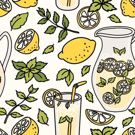 limonada: patrón transparente con limonada refrescante. limón y menta Verano