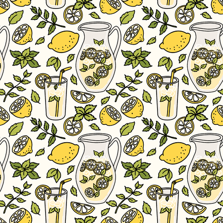 Refreshing seamless pattern with lemonade. Summer lemon and mint