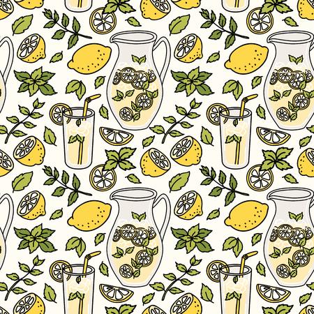 patrón transparente con limonada refrescante. limón y menta Verano