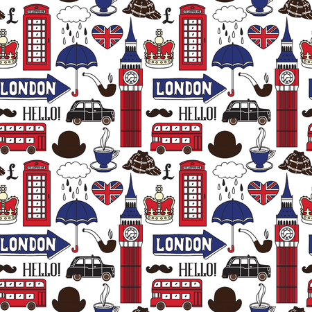 Vector pattern with London symbols and landmarks