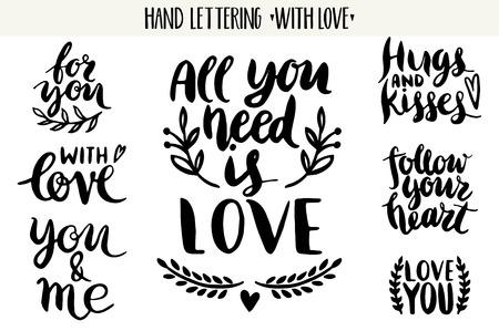 bröllop: Citat. Valentine bokstäver kärlek samling. Handritad bokstäver med vacker text om kärlek. Perfekt för valentin dag, bröllop, födelsedagskort, stämpel Illustration