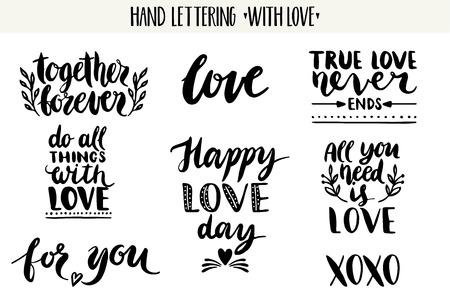 Citations. Valentine collection d'amour de lettrage. Main lettrage dessiné avec beau texte sur l'amour. Parfait pour le jour de valentine, mariage, carte d'anniversaire, timbre Banque d'images - 54807470