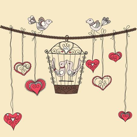 flying kiss: Birds in love. Vector illustration