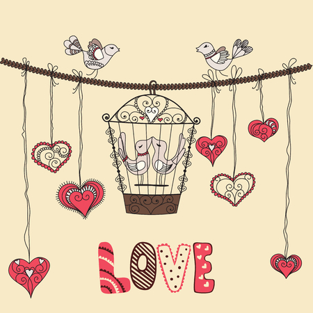cage: Birds in love. Vector illustration