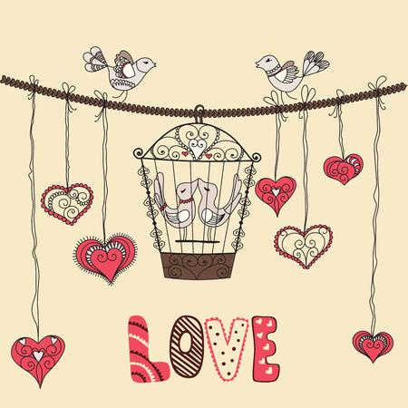 cage birds: Birds in love. Vector illustration