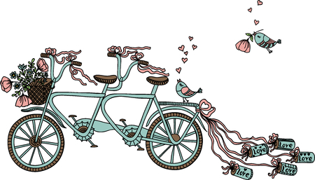 tandem bicycle: Vector illustration with retro tandem bicycle