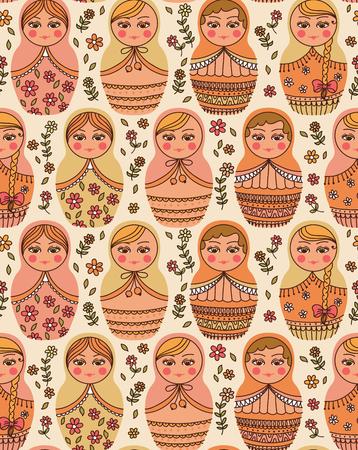 russian doll: Vector seamless pattern with Russian doll - matrioshka Illustration