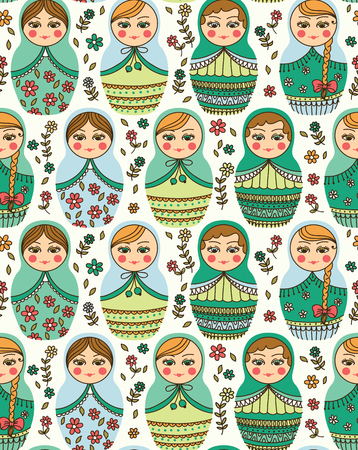 matrioshka: Vector seamless pattern with Russian doll - matrioshka Illustration