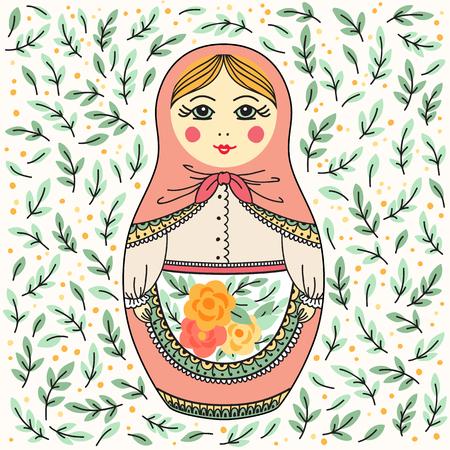Vector illustratie met Russische pop. Russisch souvenir Stock Illustratie