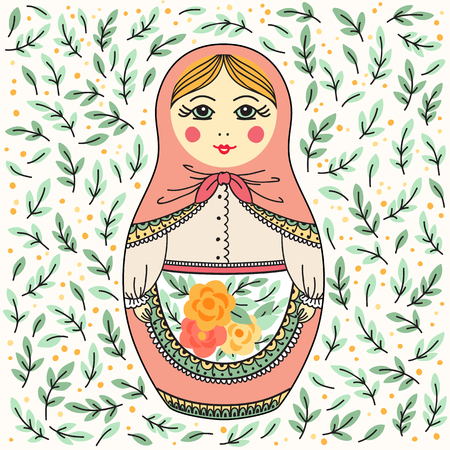 Vector illustration with Russian doll. Russian souvenir