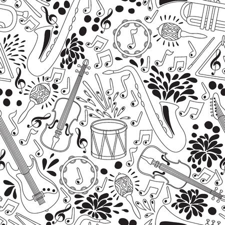 楽器とシームレスなパターンをベクトルします。ベクトルの図。抽象的な音楽の背景