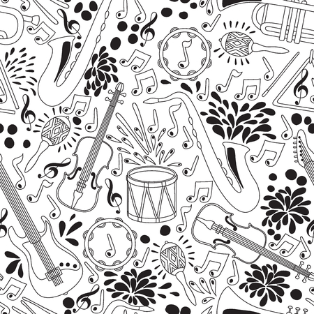 Vector seamless pattern with musical instruments. Vector illustration. Abstract Music Background Illustration