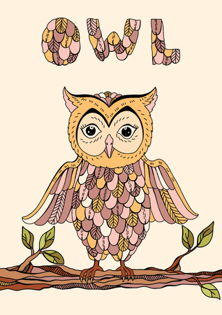 owl illustration: Vector illustration with owl