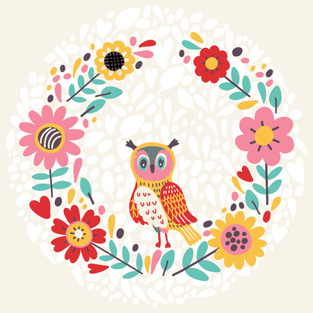 owl illustration: Cute illustration with floral wreath and owl. Vector illustration