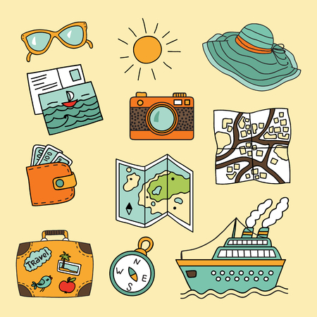 sunglasses cartoon: Travel vector set in cartoon style Illustration