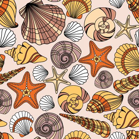 mollusk: Elegant seamless pattern with seashells, vector illustration
