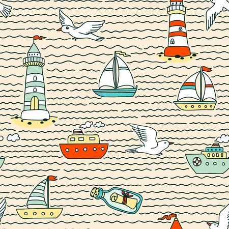 vessels: Vector seamless abstract sea pattern with vessels, lighthouses, seagulls and message in a bottle