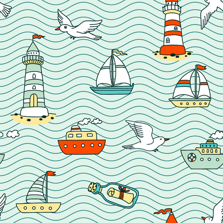 seagulls: Vector seamless abstract sea pattern with vessels, lighthouses, seagulls and message in a bottle