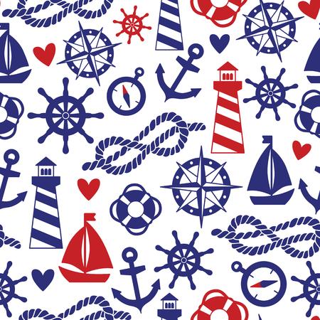 海の要素を持つベクターのシームレスなパターン: 灯台、船、アンカー。壁紙、web ページの背景に使用できます。