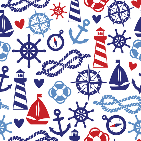 Vector seamless pattern with sea elements: lighthouses, ships, anchors. Can be used for wallpapers, web page backgrounds